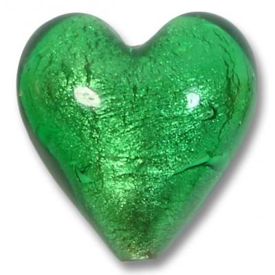 1 Murano Glass Silver Foiled Emerald 20mm Heart