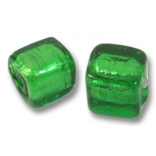 Pair Murano Glass Silver Foiled Emerald 8mm Cube Beads