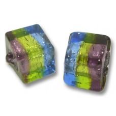 Pair Murano Glass Sapphire/ Verde/ Amethyst Silverfoil 8mm Cube Beads