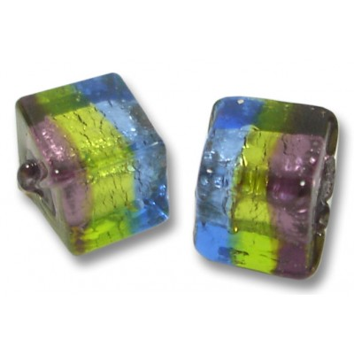 Pair 8mm Murano Glass Sapphire/ Verde/ Amethyst Silverfoil Cube Beads