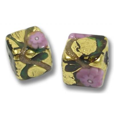Pair Murano Glass Klimt 8mm Cube Beads