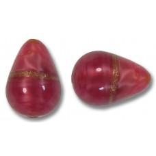1 Murano Glass Rose Ruby Aventurine Satin Drop Bead