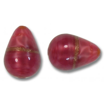 1 Murano Glass Rose Ruby Aventurine Satin Drop Bead