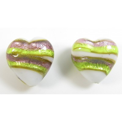 1 Pair 12mm Murano Glass Berries and Lime Hearts
