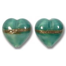 Pair 12mm Murano Glass Mint/ Aquamarine Aventurine Satin Hearts
