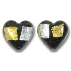 Pair 14mm Murano Glass Midnight Treasure Hearts