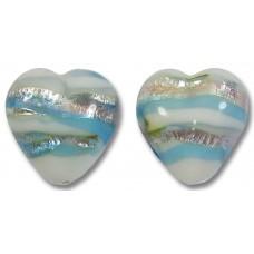 Pair 12mm Murano Glass Caribbean Rose Hearts