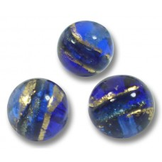 10 Murano Glass 8mm Sapphire Gold Foiled Band Round Beads