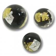 10 Murano Glass 8mm Midnight Treasure Round Beads