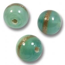 10 Murano Glass 8mm Mint/ Aquamarine Gold Aventurine Satin Round Beads