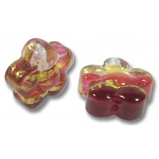 Pair Murano Glass Ruby Gold Clear Gold Foiled Flowers