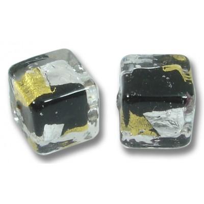 Pair Murano Glass Midnight Treasure 8mm Cubes