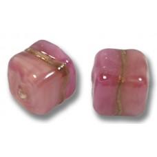 Pair Murano Glass Rose Ruby Aventurine Satin 8mm Cube Beads