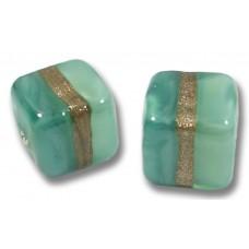 Pair Murano Glass Mint Aquamarine Aventurine Satin 8mm Cube Beads