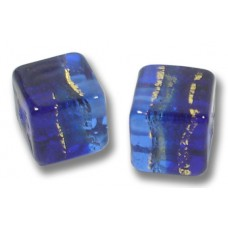 Pair Murano Glass Sapphire Gold Foiled Band 8mm Cube Beads