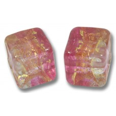 Pair Murano Glass Ruby Gold Foiled Band Clear 8mm Cube Beads
