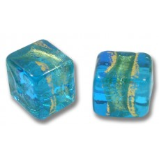 Pair Murano Glass Turquoise Blue Gold Foiled Band Band 8mm Cube Beads