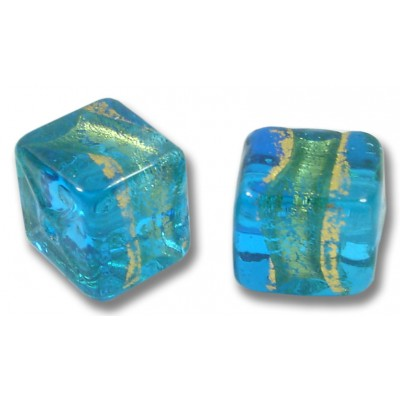 Pair Murano Glass Turquoise Blue Goldfoil Band Cube Beads