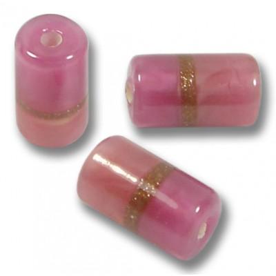 1 Murano Glass Rose/ Ruby Aventurine Satin Cylinder Bead