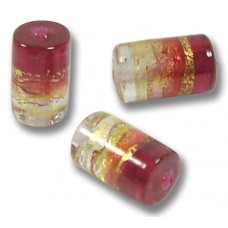 1 Murano Glass Ruby Gold Foiled Cylinder Bead