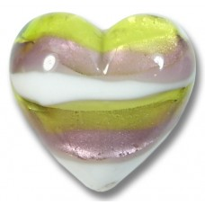 1 Murano Glass Berries and Lime 20mm Heart