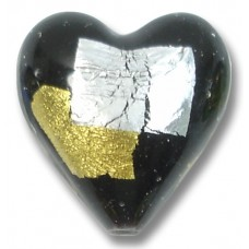 1 Murano Glass Midnight Treasure 20mm Heart
