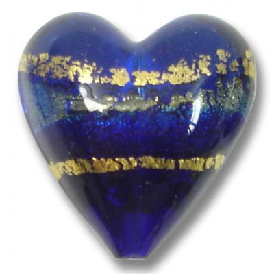 1 Murano Glass Sapphire Goldfoil Band 20mm Heart