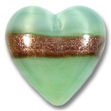 1 Murano Glass Mint/ Aquamarine Aventurine 20mm Heart