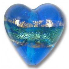 1 Murano Glass Turquoise Blue Goldfoil Band 20mm Heart