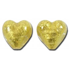 Pair Murano Glass Gold Foiled Clear 12mm Heart Beads