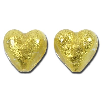 Pair Murano Glass Gold Foiled Clear 14mm Heart Beads