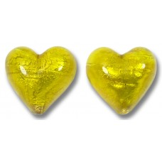 Pair Murano Glass Ginger Spice Yellow Gold Foiled 14mm Heart Beads