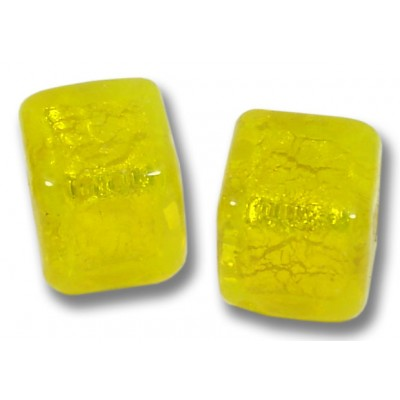 Pair Murano Glass Ginger Spice Yellow Gold Foiled 8mm Cube Beads