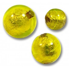 10 Murano Glass Ginger Spice Yellow Gold Foiled 8mm Round Beads.