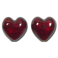 Pair Murano Glass Dark Ruby Gold Foiled 14mm Heart Beads