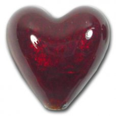 1 Murano Glass Dark Ruby Gold Foiled 20mm Heart