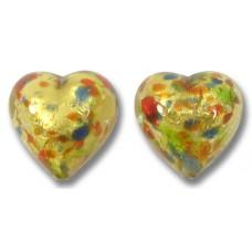 Pair Murano Glass Arlechino Gold Foiled 14mm Heart Beads