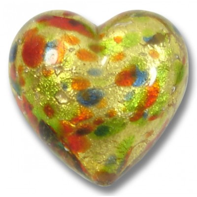 1 Murano Glass Arlechino Gold Foiled 20mm Heart Bead