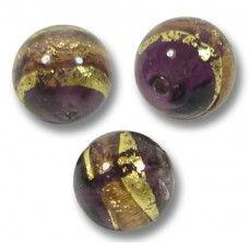 10 Murano Glass 8mm Amethyst Gold Foiled Band Round Beads