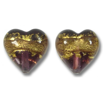 Pair 12mm Murano Glass Amethyst Gold Foiled Hearts