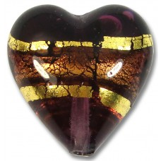 1 Murano Glass Amethyst Goldfoil Band 20mm Heart