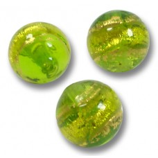 10 Murano Glass 10mm Erba Gold Foiled Round Beads