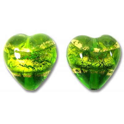 Pair 12mm Murano Glass Erba Gold Foiled Hearts
