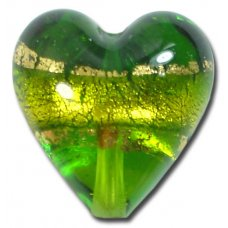 1 Murano Glass Erba Gold Foiled Band 20mm Heart
