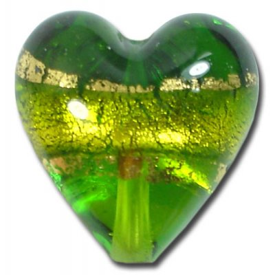 1 Murano Glass Erba Goldfoil Band 20mm Heart