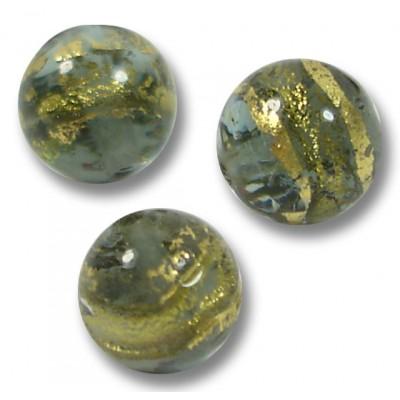 10 Murano Glass 8mm Black Diamond Gold Foiled Round Beads