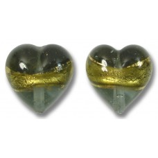 Pair 12mm Murano Glass Black Diamond Gold Foiled Band Band Hearts