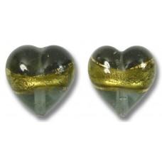 Pair 12mm Murano Glass Black Diamond Gold Foiled Hearts