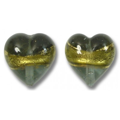 Pair 12mm Murano Glass Black Diamond Gold Foiled Hearts