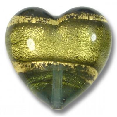 1 Murano Glass Black Diamond Goldfoil Band 20mm Heart